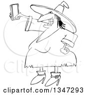 Outline Clipart Of A Cartoon Black And White Chubby Halloween Witch Taking A Selfie With A Cell Phone Royalty Free Lineart Vector Illustration by djart