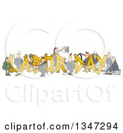 Clipart Of Cartoon Chubby White Male And Female Workers Building LABOR DAY Text Royalty Free Illustration