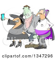 Cartoon Chubby Witch Taking A Selfie On A Cell Phone With Frankenstine And A Dracula Vampire