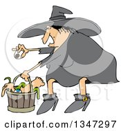 Cartoon Chubby Warty Halloween Witch Puting An Eyeball In A Basket Of Body Parts And Snakes