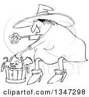 Outline Clipart Of A Cartoon Black And White Chubby Warty Halloween Witch Puting An Eyeball In A Basket Of Body Parts And Snakes Royalty Free Lineart Vector Illustration