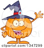 Clipart Of A Cartoon Halloween Pumpkin Character Wearing A Witch Hat And Waving Royalty Free Vector Illustration by Hit Toon