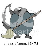 Working Skunk In Coveralls Mopping Up A Mess On A Floor Clipart Illustration