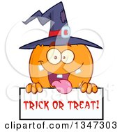 Clipart Of A Cartoon Halloween Pumpkin Character Wearing A Witch Hat And Being Goofy Over A Trick Or Treat Sign Royalty Free Vector Illustration