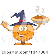 Clipart Of A Cartoon Halloween Pumpkin Character Wearing A Witch Hat Holding A Pie And Gesturing Ok Royalty Free Vector Illustration by Hit Toon