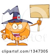 Clipart Of A Cartoon Halloween Pumpkin Character Wearing A Witch Hat And Holding A Blank Wood Sign Royalty Free Vector Illustration