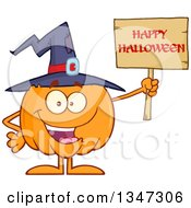 Clipart Of A Cartoon Pumpkin Character Wearing A Witch Hat And Holding A Happy Halloween Sign Royalty Free Vector Illustration