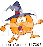 Clipart Of A Cartoon Halloween Pumpkin Character Wearing A Witch Hat And Running Royalty Free Vector Illustration