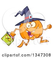 Clipart Of A Cartoon Halloween Pumpkin Character Wearing A Witch Hat And Running With A Bag Royalty Free Vector Illustration
