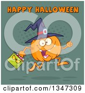 Clipart Of A Cartoon Pumpkin Character Wearing A Witch Hat And Running With A Bag Under Happy Halloween Text Over Teal And Dots Royalty Free Vector Illustration