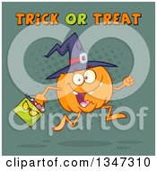 Clipart Of A Cartoon Halloween Pumpkin Character Wearing A Witch Hat And Running With A Bag Under Trick Or Treat Text Over Teal And Dots Royalty Free Vector Illustration