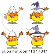 Clipart Of Cartoon Halloween Candy Corn Characters Royalty Free Vector Illustration