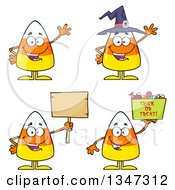 Clipart Of Cartoon Halloween Candy Corn Characters 2 Royalty Free Vector Illustration