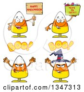 Clipart Of Cartoon Halloween Candy Corn Characters 3 Royalty Free Vector Illustration