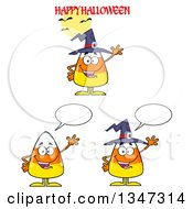 Clipart Of Cartoon Halloween Candy Corn Characters 4 Royalty Free Vector Illustration