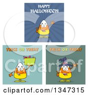 Clipart Of Cartoon Halloween Candy Corn Characters 5 Royalty Free Vector Illustration