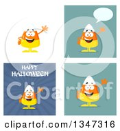 Clipart Of Cartoon Halloween Candy Corn Characters 6 Royalty Free Vector Illustration