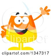 Clipart Of A Cartoon Halloween Candy Corn Mascot Waving Royalty Free Vector Illustration