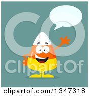 Clipart Of A Cartoon Halloween Candy Corn Character Talking And Waving Over Blue Royalty Free Vector Illustration