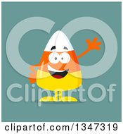 Clipart Of A Cartoon Halloween Candy Corn Character Waving Over Blue Royalty Free Vector Illustration