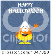 Clipart Of A Cartoon Halloween Candy Corn Character Waving Under Text Over Blue Rays And Halftone Dots Royalty Free Vector Illustration