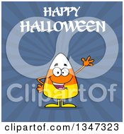 Clipart Of A Cartoon Halloween Candy Corn Character Waving Under Text Over Blue Rays Royalty Free Vector Illustration by Hit Toon