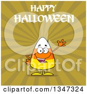 Clipart Of A Cartoon Halloween Candy Corn Character Waving Under Text Over Green Rays Royalty Free Vector Illustration