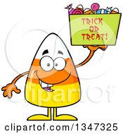 Clipart Of A Cartoon Halloween Candy Corn Character Holding Up A Trick Or Treat Basket Royalty Free Vector Illustration by Hit Toon