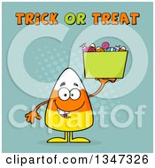 Clipart Of A Cartoon Halloween Candy Corn Character Holding A Bucket Under Trick Or Treat Text With Halftone Dots Royalty Free Vector Illustration