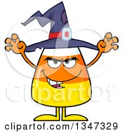 Clipart Of A Cartoon Halloween Candy Corn Character Wearing A Witch Hat And Looking Scary Royalty Free Vector Illustration