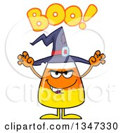 Clipart Of A Cartoon Halloween Candy Corn Character Wearing A Witch Hat Saying Boo And Looking Scary Royalty Free Vector Illustration