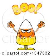 Clipart Of A Cartoon Halloween Candy Corn Character With Vampire Fangs Being Scary And Saying Boo Royalty Free Vector Illustration