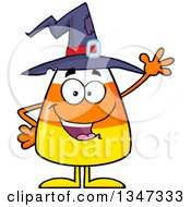 Clipart Of A Cartoon Halloween Candy Corn Character Wearing A Witch Hat And Waving Royalty Free Vector Illustration
