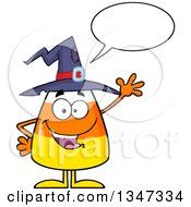 Clipart Of A Cartoon Halloween Candy Corn Character Wearing A Witch Hat Talking And Waving Royalty Free Vector Illustration