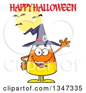 Clipart Of A Cartoon Candy Corn Character Wearing A Witch Hat And Waving Under A Happy Halloween Greeting Bats And A Full Moon Royalty Free Vector Illustration