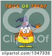 Clipart Of A Cartoon Halloween Candy Corn Character Waving Under Trick Or Treat Text With Halftone Dots Royalty Free Vector Illustration