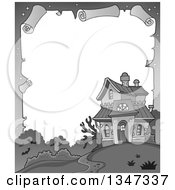Clipart Of A Grayscale Halloween Parchment Border Of A Haunted House Royalty Free Vector Illustration