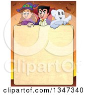 Cartoon Halloween Witch Girl Vampire Dracula And Ghost Over Textured Text Space With Bare Branches And Bats On Orange