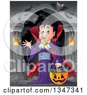 Clipart Of A Cartoon Dracula Vampire Waving And Holding A Jackolantern Basket With Halloween Candy In A Haunted Hallway With Bats Royalty Free Vector Illustration