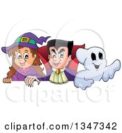 Clipart Of A Cartoon Halloween Witch Girl Vampire Dracula And Ghost Over A Sign Royalty Free Vector Illustration