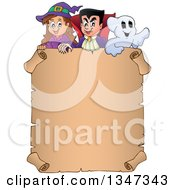 Clipart Of A Cartoon Halloween Witch Girl Vampire Dracula And Ghost Over A Blank Parchment Scroll Sign Royalty Free Vector Illustration by visekart