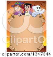 Clipart Of A Cartoon Halloween Witch Girl Vampire Dracula And Ghost Over A Blank Parchment Scroll Sign On Orange With Bats Royalty Free Vector Illustration by visekart