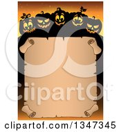 Clipart Of A Cartoon Illuminated And Silhouetted Halloween Jackolantern Pumpkins Over A Blank Parchment Scroll Sign On Orange Royalty Free Vector Illustration