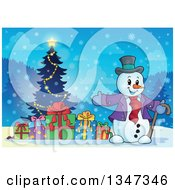 Clipart Of A Cartoon Christmas Snowman Presenting Gifts And A Tree At Night Royalty Free Vector Illustration