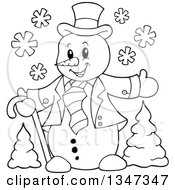 Outline Clipart Of A Cartoon Black And White Christmas Snowman Welcoming Over Trees Royalty Free Lineart Vector Illustration