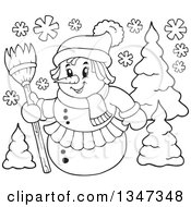 Outline Clipart Of A Cartoon Black And White Female Christmas Snowman Holding A Broom By Trees Royalty Free Lineart Vector Illustration