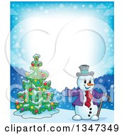 Clipart Of A Border Of A Cartoon Christmas Snowman Presenting A Tree Royalty Free Vector Illustration