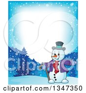 Clipart Of A Border Of A Cartoon Christmas Snowman Presenting In The Snow Royalty Free Vector Illustration