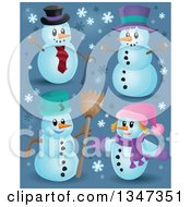 Clipart Of Cartoon Christmas Snowmen With Snowflakes On Blue Royalty Free Vector Illustration