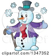 Clipart Of A Cartoon Christmas Snowman Welcoming Royalty Free Vector Illustration